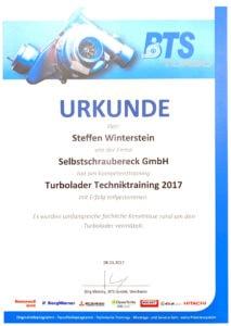 Urkunde BTS Turbotechnik Selbstschraubereck Hallbergmoos Muenchen