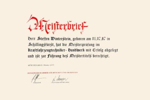 Meisterbrief KFZ Meisterwerkstatt in Hallbergmoos